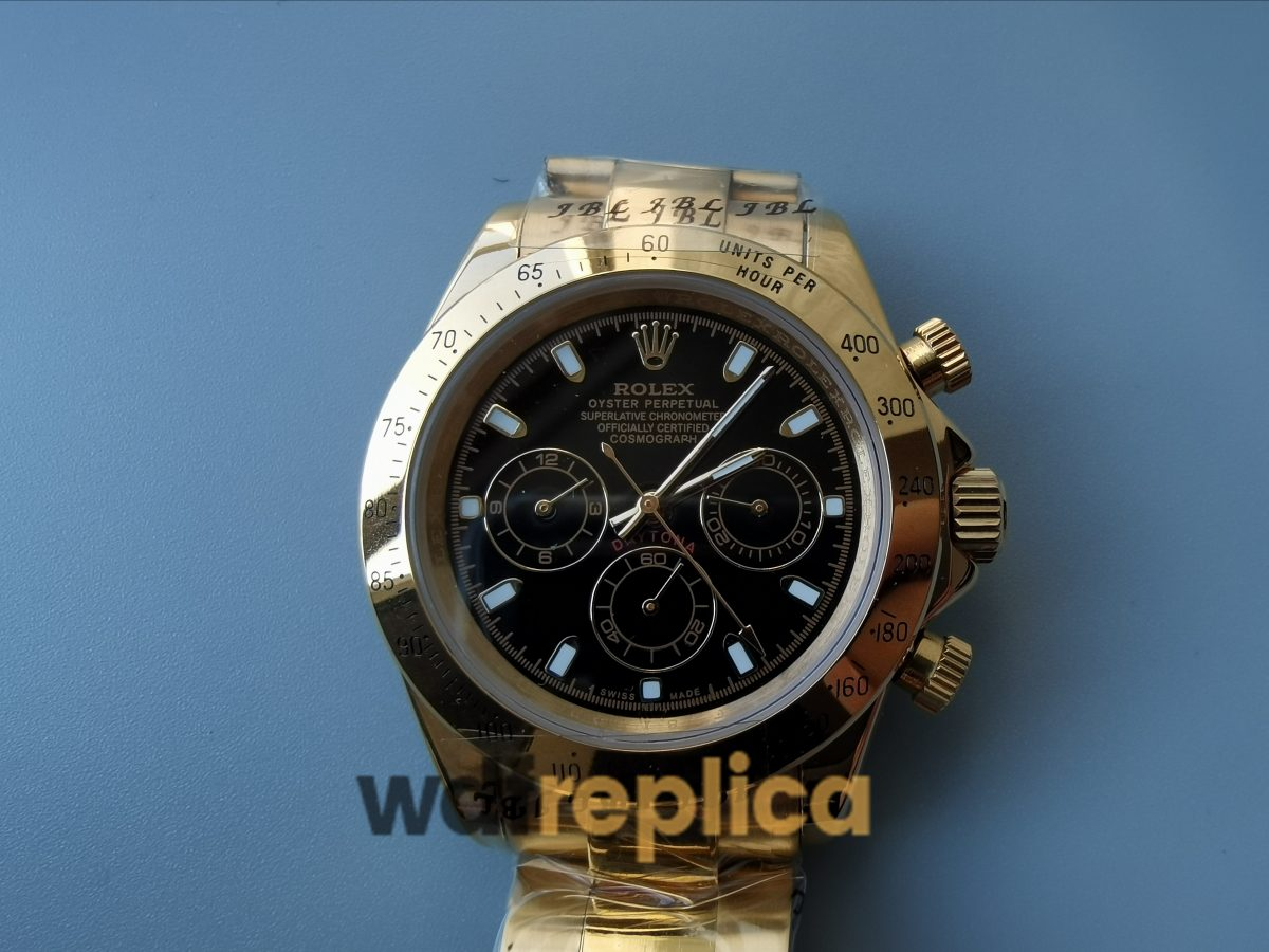 Rolex Daytona 116528 40mm 18k Yellow Gold Oyster And Black Sub Dials Watch
