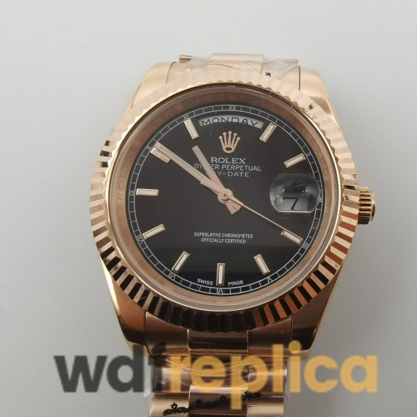 Rolex Day-date 218235 For Men Rose Gold Bracelet Black Dial 41mm Watch