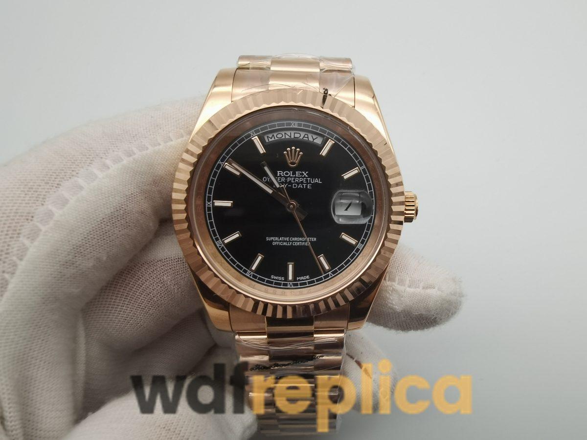 Rolex Day-date 218235 For Men Rose Gold Bracelet Black Dial 41mm Watch