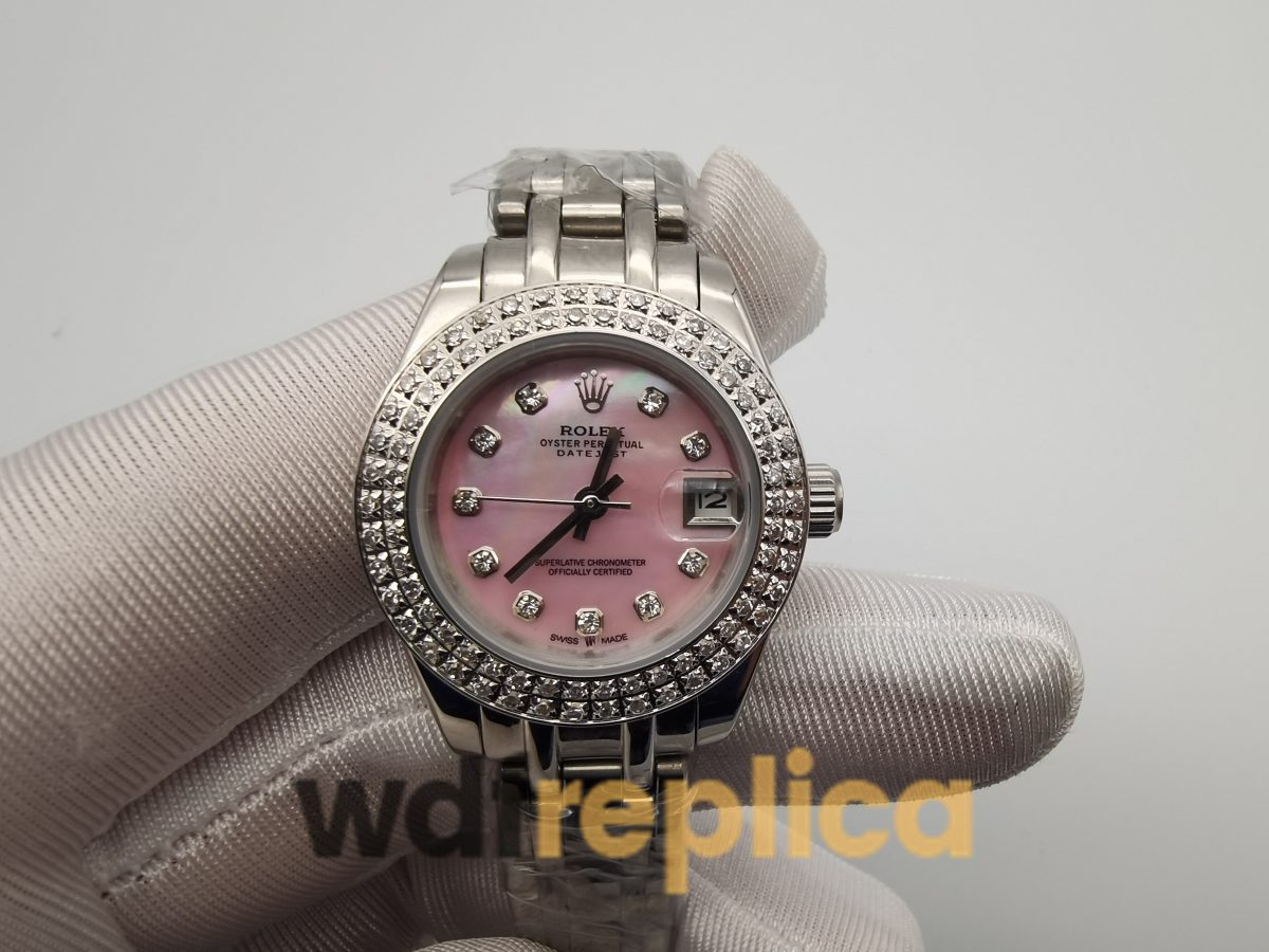 Rolex Datejust 116244 For Women Stainless Steel With Diamonds And Pink Dial 36mm Watch