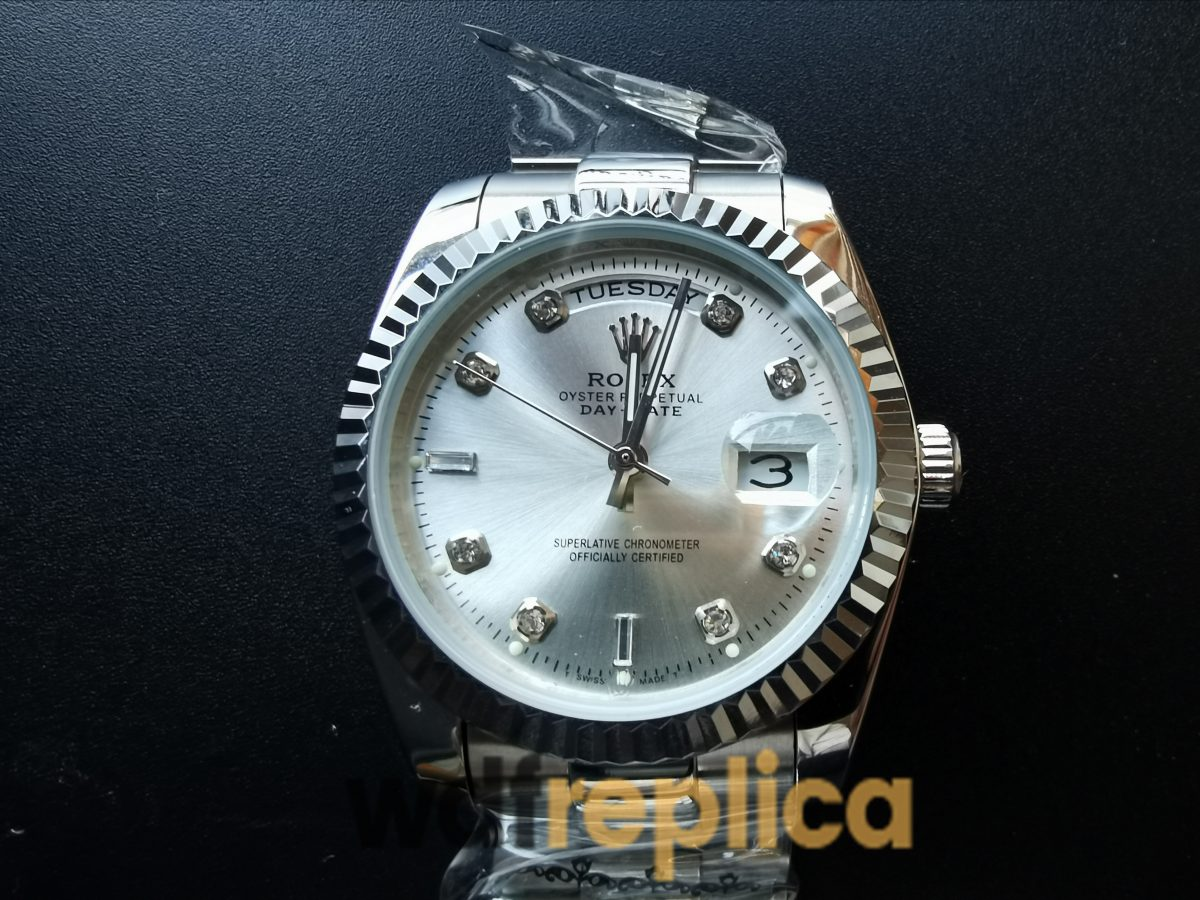 Rolex Day-Date 128239 36mm Stainless Steel Diamond Dial With Silver For Men Watch