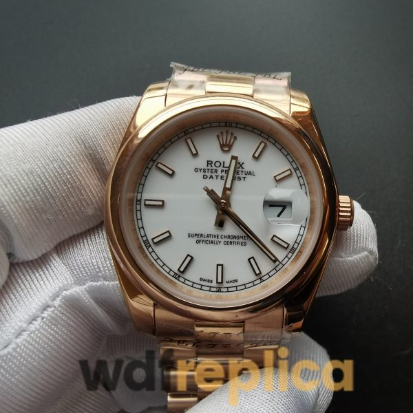 Rolex Datejust 4467 36mm White Dial And 18k Rose Gold Case For Men Watch