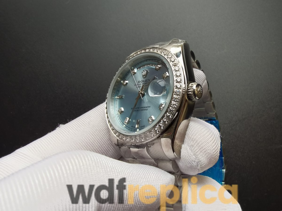 Rolex Day-date 118346 Stainless Steel Ice Blue 36mm For Men Watch