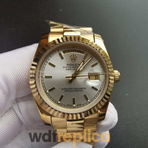 Rolex Day-date 18238 36mm White Dial Oyster Yellow Gold For Men Watch