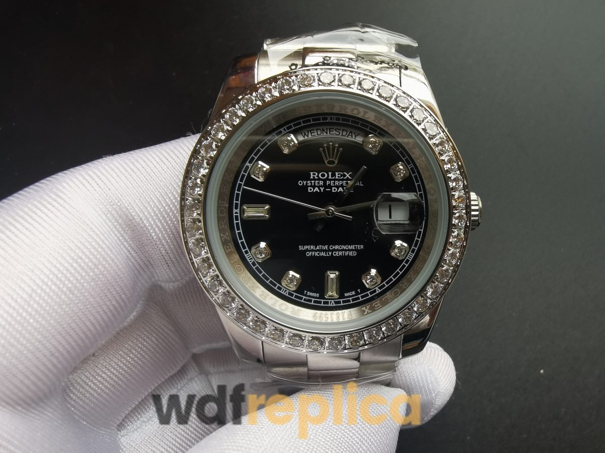Rolex Day Date 228349rbr Stainless Steel And Black Dial 40mm For Men Watch