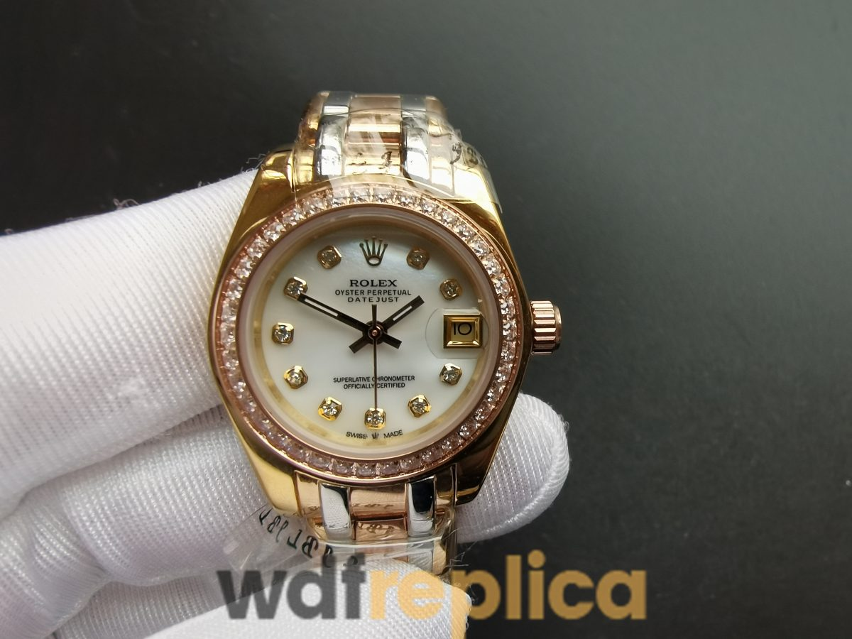 Rolex Datejust 80299 White Dial 18k Gold Pearlmaster With Hidden Clasp 29mm For Women Watch