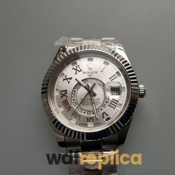 Rolex Sky-dweller 42mm 18k White Gold And Silver Dial For Men Watch