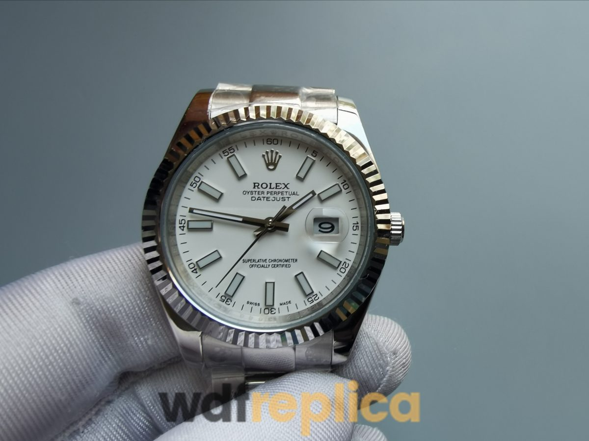 Rolex Datejust 116300 White Baton Dial And Steel Case 41mm For Men Watch
