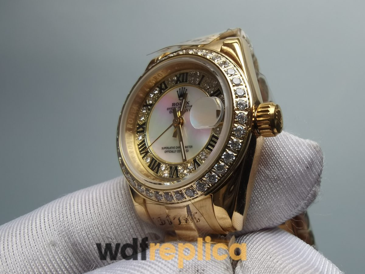 Rolex Datejust Diamond Dial And 18ct Yellow Gold Case 28mm For Women Watch