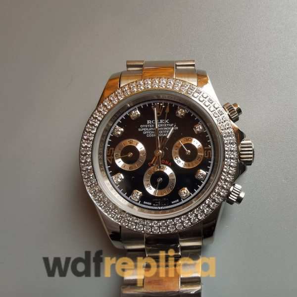 Rolex Daytona 18k Yellow Gold And Black Dial For Women Watch